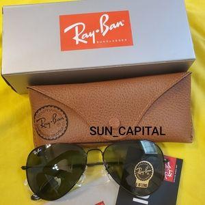 Ray Ban Aviator Sunglasses Black G-15 Lenses NEW
